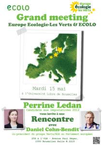 Meeting Europe Ecologie Les Verts – Ecolo le 15 mai avec Dany Cohn-Bendit et Perrine Ledan